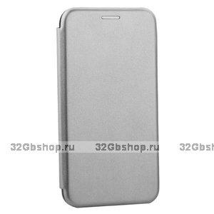 Серый кожаный чехол книга для iPhone 11