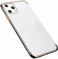 Прозрачный силиконовый чехол для iPhone 11 Pro Max золотой край