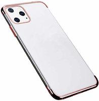 Прозрачный силиконовый чехол для iPhone 11 Pro Max край розовое золото