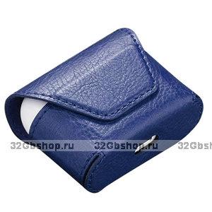 Синий кожаный чехол конверт для AirPods Pro