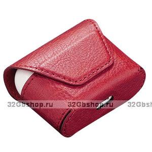 Красный кожаный чехол конверт для AirPods Pro