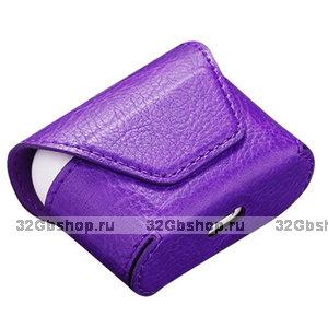Фиолетовый кожаный чехол конверт для AirPods Pro