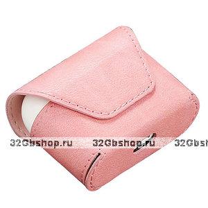Розовый кожаный чехол конверт для AirPods Pro