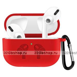 Красный силиконовый чехол с рисунком наушники для AirPods Pro с карабином