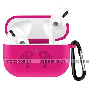 Ярко-розовый силиконовый чехол с рисунком наушники для AirPods Pro с карабином