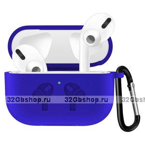 Синий силиконовый чехол с рисунком наушники для AirPods Pro с карабином