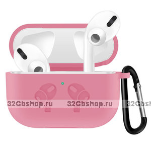 Светло-розовый силиконовый чехол с рисунком наушники для AirPods Pro с карабином