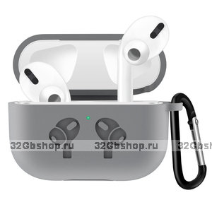 Серый силиконовый чехол с рисунком наушники для AirPods Pro с карабином