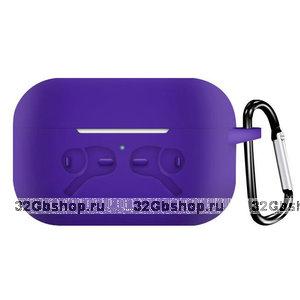 Фиолетовый силиконовый чехол с рисунком наушники для AirPods Pro с карабином