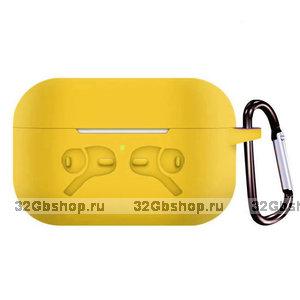 Желтый силиконовый чехол с рисунком наушники для AirPods Pro с карабином