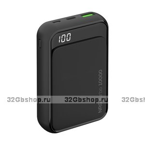 Внешний универсальный аккумулятор с индикацией заряда Deppa NRG Turbo Compact 10000 mAh QC 3.0 power bank 18 W ( 2 USB: 5V-2.1A ) графитовый