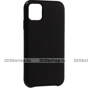 Черный кожаный чехол накладка для Apple iPhone 11 - Leather Case Black