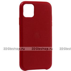 Красный кожаный чехол накладка для Apple iPhone 11 - Leather Case Red