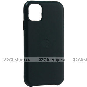 Темно-зеленый кожаный чехол накладка для Apple iPhone 11 - Leather Case Green