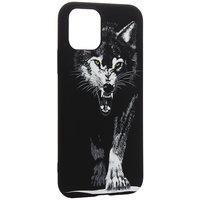 Черный силиконовый чехол для iPhone 11 Pro рисунок Волк
