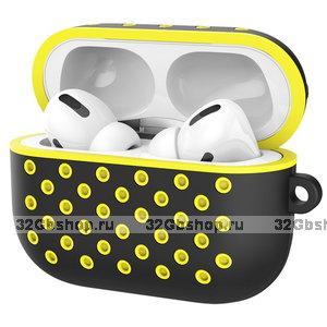 Черный силиконовый чехол для AirPods Pro с желтой перфорацией