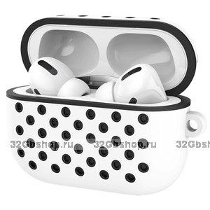 Белый силиконовый чехол для AirPods Pro с черными отверстиями