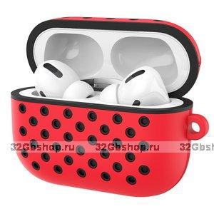 Красный силиконовый чехол для AirPods Pro с черными отверстиями