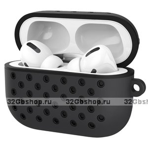 Черный силиконовый чехол для AirPods Pro с отверстиями