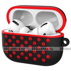 Черный силиконовый чехол для AirPods Pro с красными отверстиями