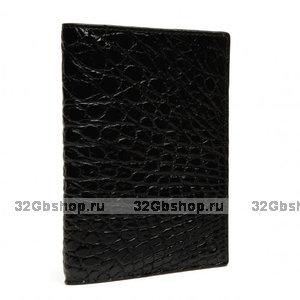 Черная обложка для паспорта из кожи крокодила
