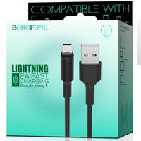 Черный кабель для iPhone 1м - USB to Lightning - Borofone BX1 EzSync Black