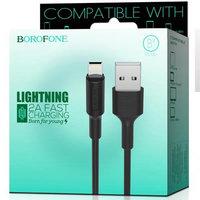 Черный кабель для iPhone 1м - USB to Lightning - Borofone BX1 EzSync Black