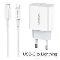 Сетевое зарядное устройство USB-C с кабелем USB-C на Lightning - Borofone BA38A Speedy PD3.0 EU