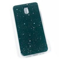 Зеленый силиконовый чехол для Xiaomi Redmi 8A с блестками зевездочки
