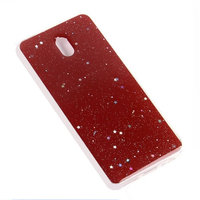 Красный силиконовый чехол для Xiaomi Redmi 8A с блестками зевездочки