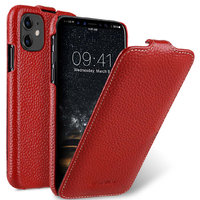 Красный кожаный чехол флип для Apple iPhone 11 - Melkco Premium Leather Jacka Type Red