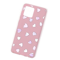 Розовый силиконовый чехол для iPhone 11 Pro Max с рисунком сердечки