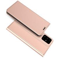 Кожаный чехол книга для Samsung Galaxy S20 Plus розовое золото