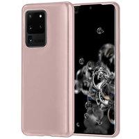Силиконовый чехол накладка для Samsung Galaxy S20 Ultra розовое золото