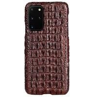 Коричневый чехол из крокодиловой кожи для Samsung Galaxy S20 Plus спинка