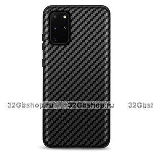 Черный силиконовый чехол для Samsung Galaxy S20 Plus карбон