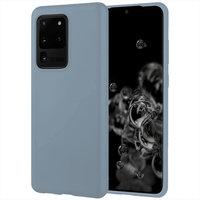 Синий матовый силиконовый чехол накладка для Samsung Galaxy S20 Ultra