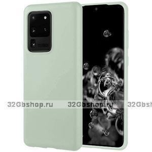 Зеленый матовый силиконовый чехол накладка для Samsung Galaxy S20 Ultra