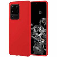 Красный матовый силиконовый чехол накладка для Samsung Galaxy S20 Ultra