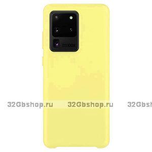 Желтый силиконовый чехол Soft Touch Silicone Case Yellow для Samsung Galaxy S20 Ultra
