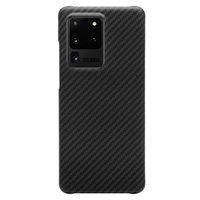 Черный силиконовый чехол для Samsung Galaxy S20 Ultra карбон