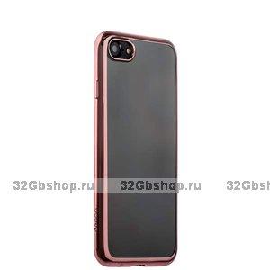 Прозрачный силиконовый чехол с бампером розовое золото для iPhone SE 2