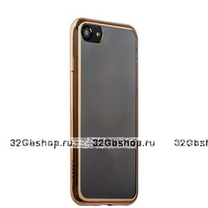 Прозрачный силиконовый чехол с золотым бампером для iPhone SE 2