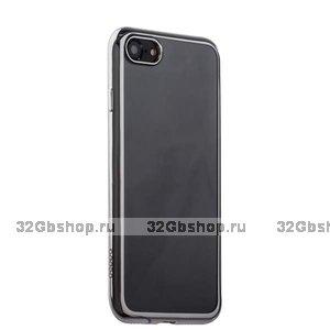 Прозрачный силиконовый чехол с серебряным бампером для iPhone SE 2
