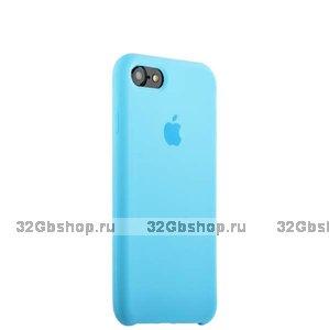 Голубой силиконовый чехол Silicone Case Blue для iPhone SE 2