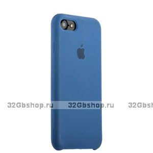Синий силиконовый чехол Silicone Case Saphhire для iPhone SE 2