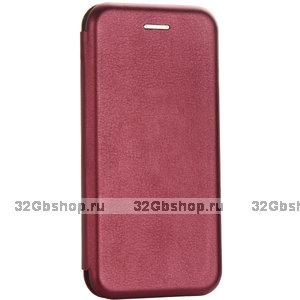 Бордовый кожаный чехол книга подставка для iPhone 6s / 6 (4.7)