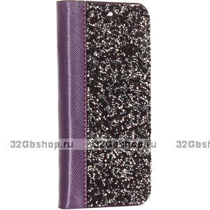 Фиолетовый кожаный чехол книга со стразами для iPhone 11 Pro Max