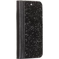 Черный кожаный чехол книга со стразами для iPhone 11 Pro Max