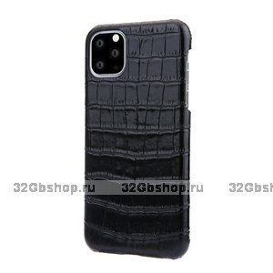 Черный чехол из кожи крокодила для iPhone 12 Pro Max брюхо